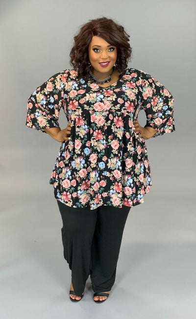 PQ-C (Touch Of Sweetness) Black Floral Print Babydoll Top EXTENDED PLUS 4X 5X 6X