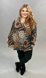 PQ-Z {Crossing Paths} Rust Teal Printed V-Neck Tunic CURVY BRAND EXTENDED PLUS SIZE 3X 4X 5X 6X