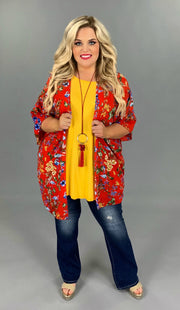 OT-Y {Scarlet Fever} Red Floral Cardigan with Blue/Olive/Gold Tropical Design EXTENDED PLUS SIZE 3X 4X 5X