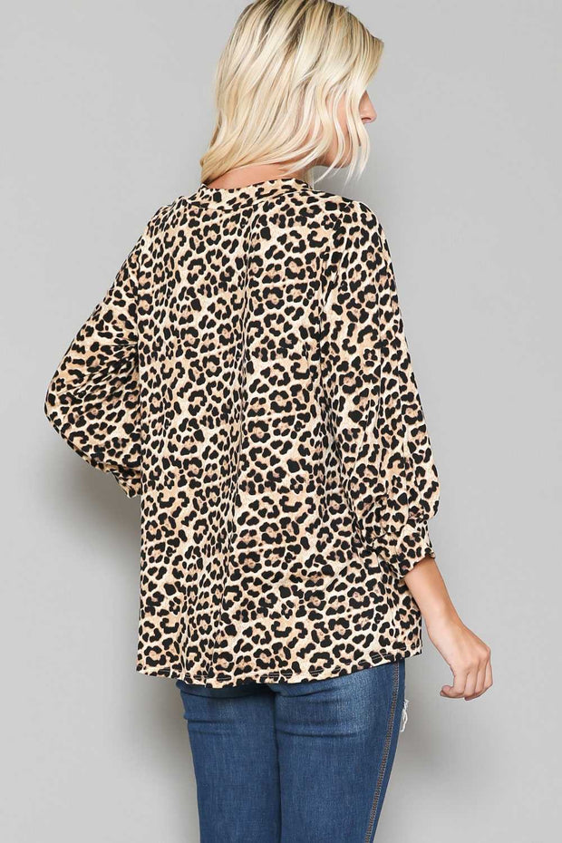 PLS-X {Daytime Prowl} Tan Black Leopard V-Neck Tunic BUTTER SOFT EXTENDED PLUS SIZE 4X 5X 6X