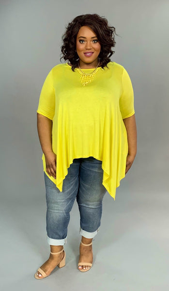 SSS-X {Cool Summer} Yellow Asymmetrical Short Sleeve Top Extended Plus