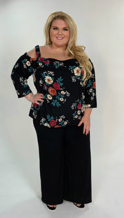 OS-K {Blissful Days} Black Floral Print Off-Shoulder Top Extended Plus