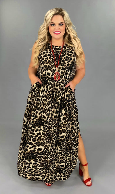 LD-L {Little Bavaria} Exotic Leopard Maxi Dress PLUS SIZE 1X 2X 3X