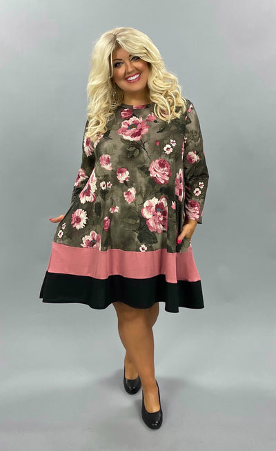 45 CP-Z {Can't Make You Love Me} Brown/Mauve Floral Tunic Plus Size 1X 2X 3X