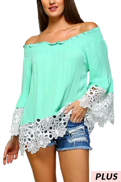 OS-Z{Mint Julep}Mint Tunic w/Crochet Detail PLUS SIZE 1X 2X 3X