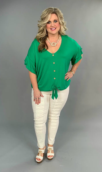 "SSS-D ""Chill Bill"" Green Tie Detail Button Up Ruffle Top"