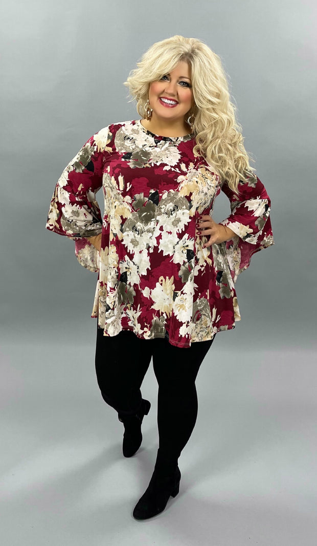 33 PQ-T {Perfect Beauty} Burgundy Tan Floral Bell Sleeve Tunic Plus Size 1X 2X 3X