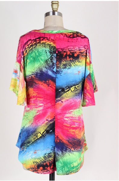 PSS-J {Dream Life} Multi-Print Top with Ruffle Sleeves