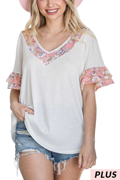 65 CP-A {LIke A Dream} White Waffle V-Neck W Floral Detail PLUS SIZE 1X 2X 3X