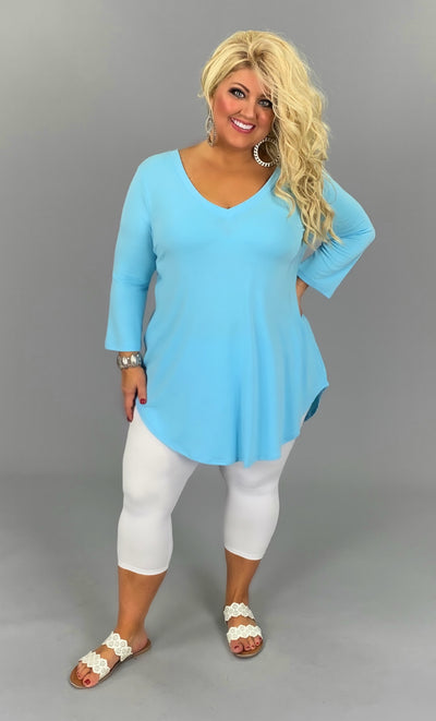 SQ-B {Anything Goes} SALE!! Baby Blue V-Neck Tunic with 3/4 Sleeves PLUS SIZE 1X 2X 3X