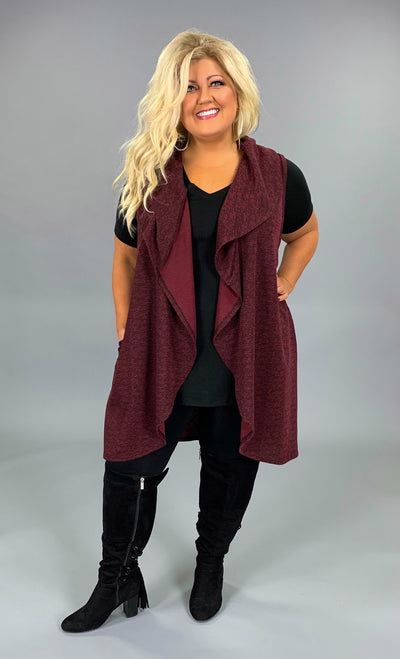 OT-N {Yes It's Time} Burgundy/Black Knit Vest