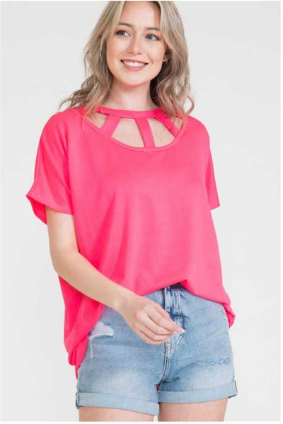 62 SSS-A {Full Of Joy} Neon Pink Top with Neck Detail PLUS SIZE XL 2X 3X