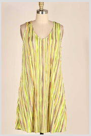 SV-E {Desert Sky} Lime/Orange/Mocha Abstract Stripe Dress PLUS SIZE 1X 2X 3X SALE!!