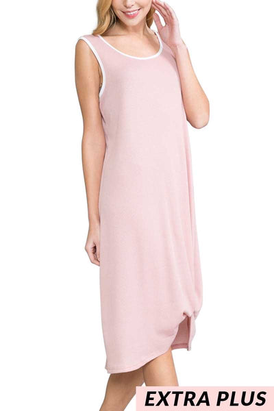 54 LD-I {Lovely Longing}  Pink with White Trim Long Dress EXTENDED PLUS SIZE  4X 5X 6X