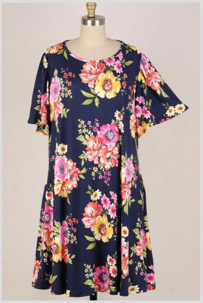 62 PSS-F {Pretty & Precious} Navy Floral Dress (Buttersoft) EXTENDED PLUS SIZE 3X 4X 5X