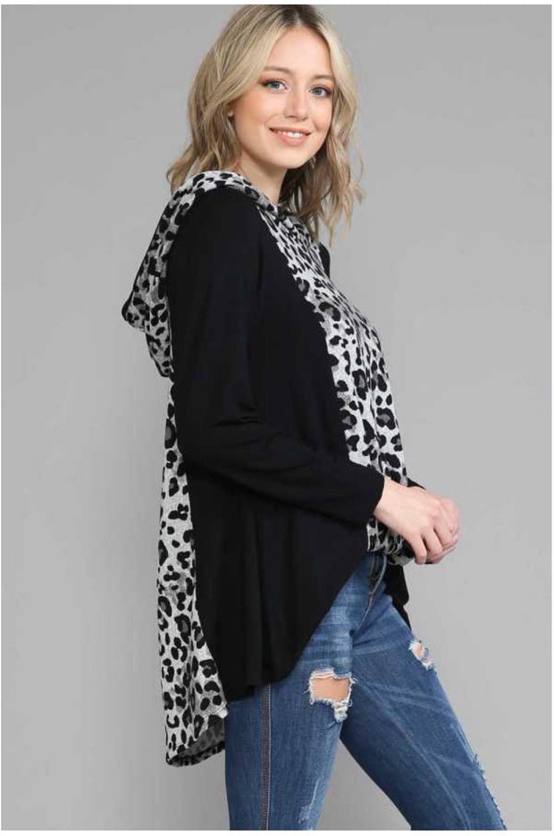 25 HD-G {Time Well}  SALE!! Grey Black Leopard Hoodie EXTENDED PLUS SIZE 4X 5X 6X