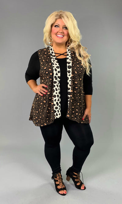 OT-T {Steal A Moment} Brown Cheetah Print Contrast Vest
