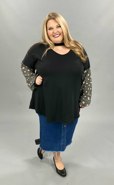 10-31 CP-C {Current Mood} Black Leopard Bar Neck Tunic CURVY BRAND EXTENDED PLUS SIZE 3X 4X 5X 6X