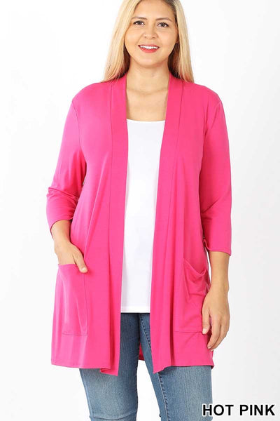 53  OT-A {Love Sick} Fuchsia Light Weight 3/4 Sleeve Cardigan Plus Size XL 2X 3X