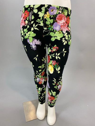PSS/14- Black Leggings with Springtime Floral Print