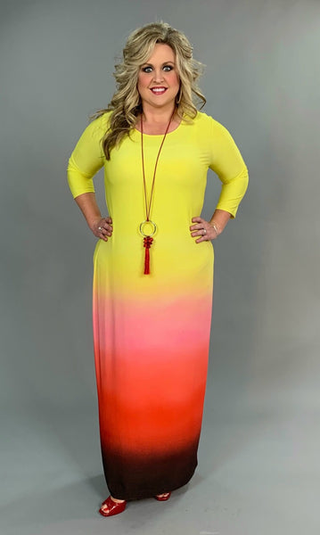 "LD-Z ""Make A Difference"" Yellow Ombre' Maxi Dress FLASH SALE!!"