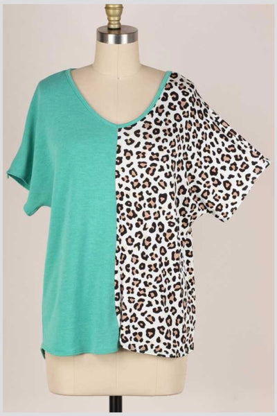 62 CP-C {As You Wish} Jade Green/Leopard Contrast Print Top PLUS SIZE 1X 2X 3X