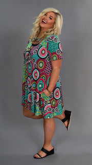 PSS-R {Surprise Party} Jade Mandala Print Keyhole Dress