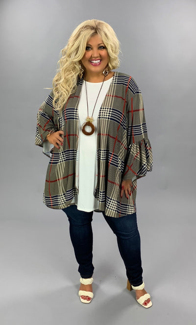 OT-S {Not All Business} Black Taupe Red Plaid Bell Sleeve Cardigan PLUS SIZE 1X 2X 3X
