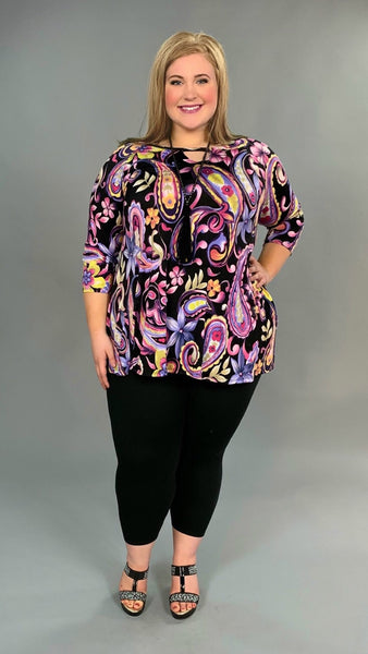 PQ-P {Jumping For Joy} Pink/Purple Paisley Floral Keyhole Tunic