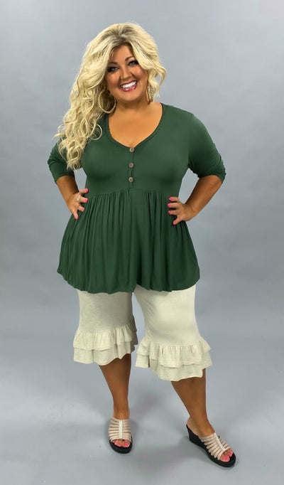 SLS-A (Beauty Within) Olive Babydoll Tunic With Button Detail SALE!!  EXTENDED PLUS SIZE 3X 4X 5X 6X CURVY BRAND