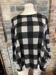 10-01 PLS-Z {Good Soul} Black Grey Plaid Top