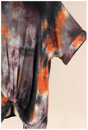 PSS-C {As I Am} Charcoal & Orange Tie Dye Tunic Twist Hem EXTENDED PLUS SIZE 4X 5X 6X
