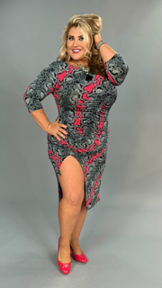 LD-K {Who's That Lady} Blk/Fuchsia Snakeskin Print Bodycon Dress PLUS SIZE 1X 2X 3X SALE!!