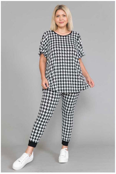 55 SET-H  {Didn't Listen}  Houndstooth Printed Lounge Wear EXTENDED PLUS 4X 5X 6X
