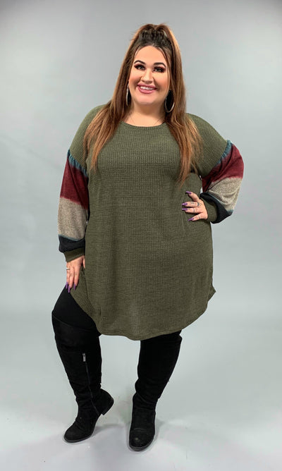 CP-G {Follow The Beat} Olive Knit Tunic with Bubble Sleeves  SALE!!