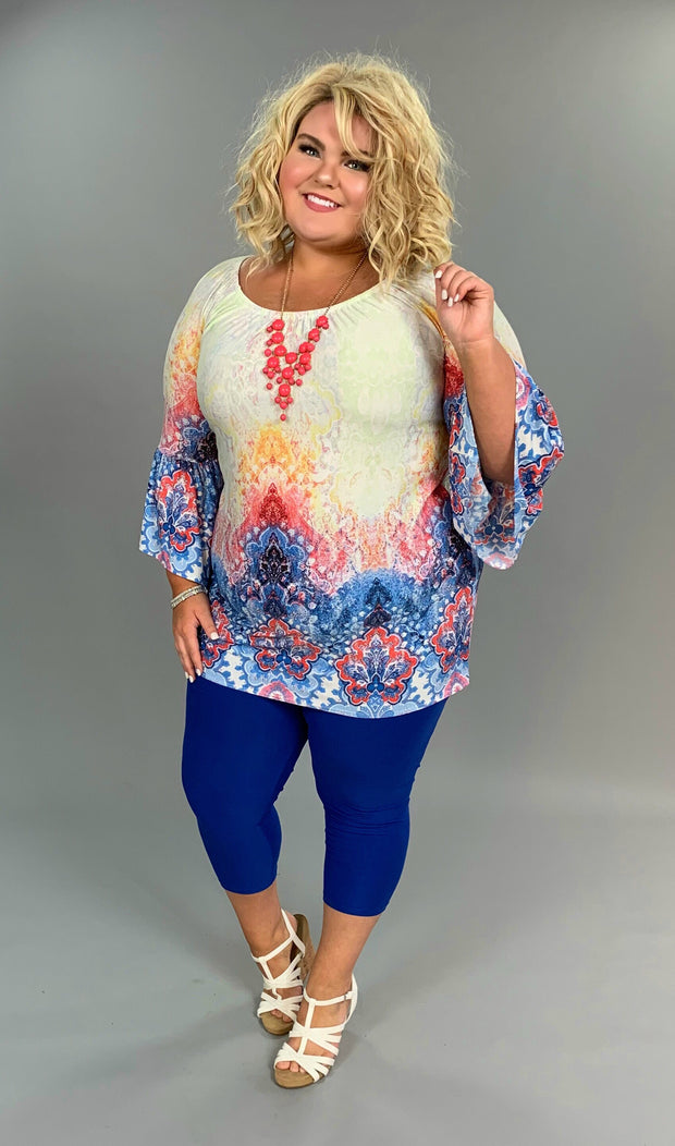 PQ-H {Just Say Yes} Multi-Color Tunic Dress with Bell Sleeves