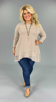 SQ-B (Sophisticated Girl) Ash Mocha Tunic With Sheer Detail PLUS SIZE 1X 2X 3X (FLASH SALE)