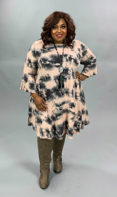 PQ-A {Give It Time} Pink Charcoal Tie Dye Bell Sleeve Knit Dress EXTENDED PLUS SIZE 3X 4X 5X
