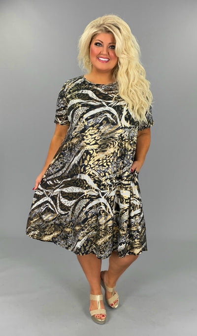 PSS-L {24 KARAT} Black/Gold Animal Print Dress EXTENDED PLUS SIZE 3X 4X 5X