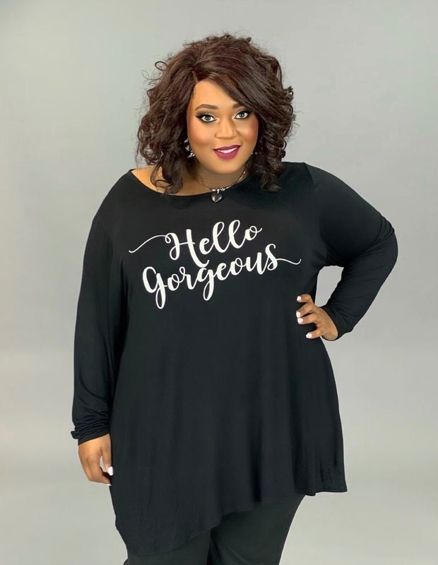 GT-K {HELLO GORGEOUS} Black Graphic Tee EXTENDED PLUS SIZE 3X 4X 5X 6X