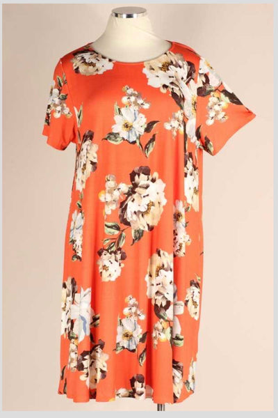 PSS-N {The Good Ones} Orange Dress With Ivory Flowers EXTENDED PLUS SIZE 3X 4X 5X SALE!!