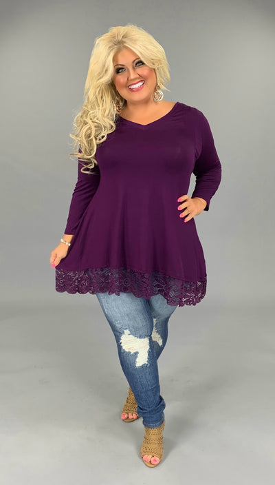 SQ-N (Just Amazing) Drk. Plum V-Neck Tunic With Lace Hem PLUS SIZE 1X 2X 3X