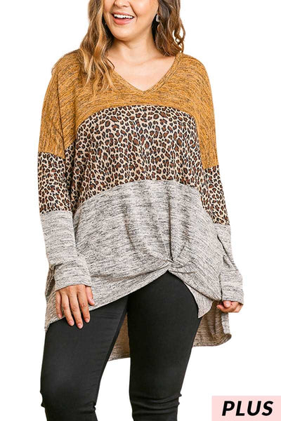 CP-A {Roaming The Wild} Umgee Mustard Leopard Knit Top PLUS SIZE XL 1X 2X