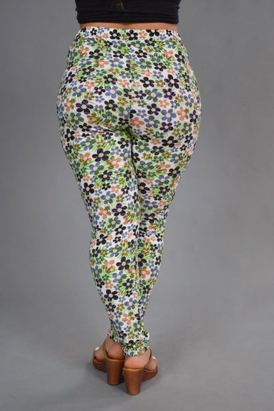 Leg-21  {Floral Paradise} Green/Multi Color (Soft) Leggings