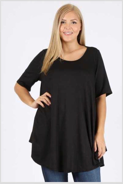 SSS-C (A Must Have) Black Tunic With Rounded Hem  EXTENDED PLUS 3x 4x 5x