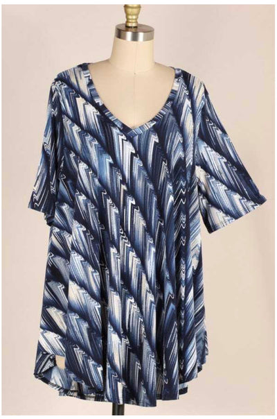 PSS-Q {In The Navy} Textured Tunic EXTENDED PLUS SIZE 3X 4X 5X