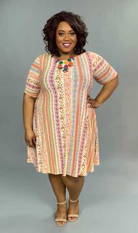 PSS-A {Eye Candy} Vertical Floral Striped Dress with Pockets