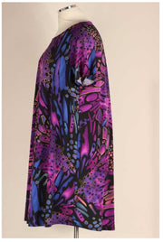 PSS-L {Artistic Vision} Purple Printed Short Sleeve Dress EXTENDED PLUS SIZE 3X 4X 5X