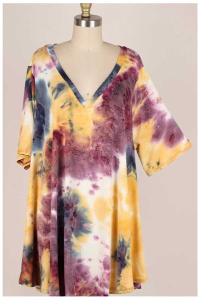 49 PSS-H {Hidden Delight} Purple Gold Tie Dye V-Neck Tunic EXTENDED PLUS SIZE 3X 4X 5X
