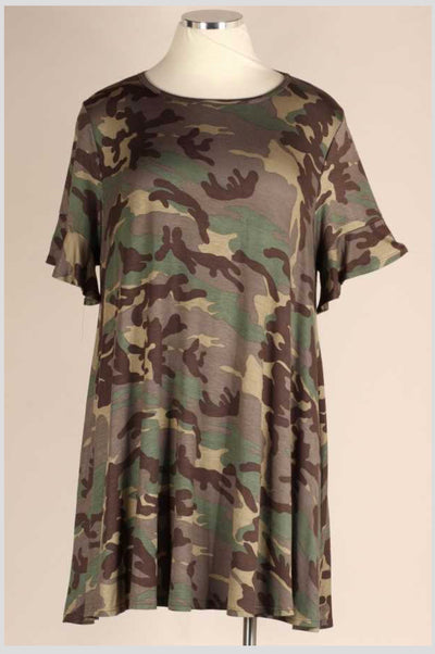 PSS-F {Endless Days} Green Brown Camo Ruffle Sleeve Dress EXTENDED PLUS SIZE 3X 4X 5X